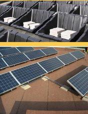 Modulmontage mir recyclebaren Kunststoffträgern für jede Art von Flachdächern zB Kunststoff oder Kautschuk